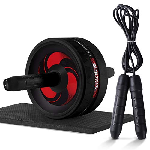 Rodillo abdominal 2 en 1 con cuerda de salto y estera, sin ruido, rueda abdominal, rueda de núcleo para mujeres y hombres, entrenamiento de fuerza (negro con cuerda de saltar)