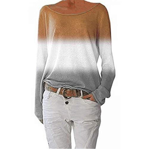 Damen Farbverlauf Top Tie Dye Breitkragen Lässig Langarm T-Shirt