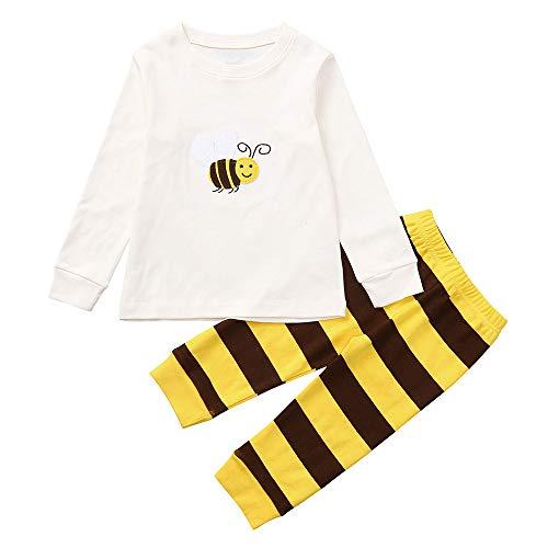 Snakell 2er Set Overall Kleidung Anzug Kleinkind Säugling Baby Cartoon Biene LangeÄrmel T-Shirt Top + StreifenDruckenHose Outfits Set Baby-Jungen Bekleidungsset 2 Säugling stücke