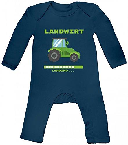 Bauer Traktor Farmer Farm Baby Strampler Langarm Schlafanzug Jungen Mädchen Landwirt Loading, Größe: 3-6 Monate,Nautical Navy