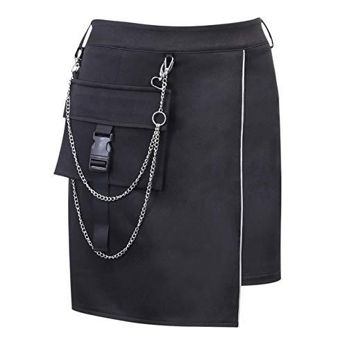 BZH Faldas suaves de cintura alta para mujer sexy cadena de metal patchwork Streetweare faldas femeninas casual reflectante sexy