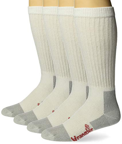 Wrangler Men's Riggs Workwear Over The Calf Work Boot Socks 4 Pair Pack, White, Large