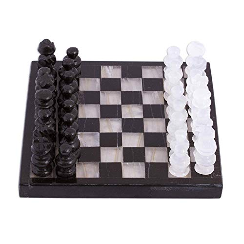 NOVICA Black and Ivory Challenge (5 in.) Onyx and Marble Chess Set