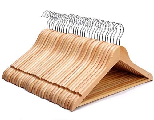 KEPLIN - Perchas de madera natural fuertes (30 unidades)