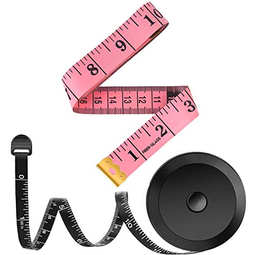 2 Pack Tape Measure Measuring Tape for Body Fabric Sewing Tailor Cloth Knitting Vinyl Home Craft Measurements, 60-Inch Soft Fashion Pink & Retractable Black Double Scales Rulers for Body Weight Loss