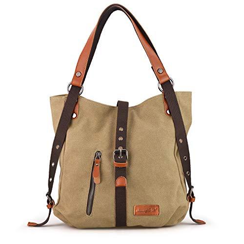 SHANGRI-LA Purse Handbag for Women Canvas Tote Hobo Bag Casual Shoulder School Bag Rucksack Convertible Backpack - Khaki