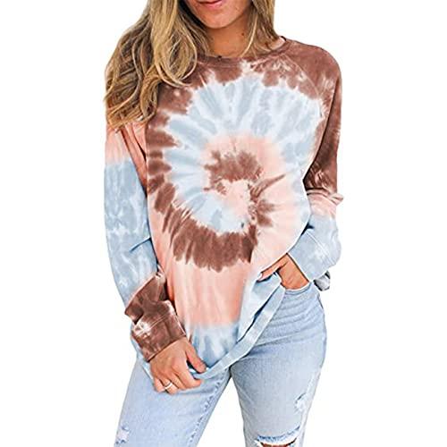 Primavera Y Verano Mujer Casual Suelta Cuello Redondo Tie-Dye Estampado Blusa PulóVer SuéTer Camiseta Mujer