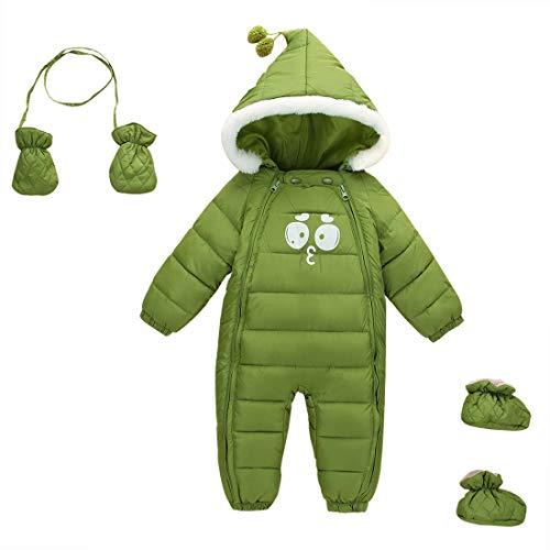 Feoya Schneeanzug für Neugeborene, für den Winter, mit Kapuze, für Kinder im Winter mit Handschuhen und Schuhen, Grün 1-2 Jahre