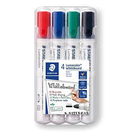 STAEDTLER Lumocolor whiteboard marker, confezione da 4, punta tonda, 351 WP4