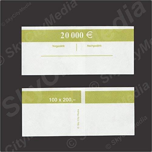 Banderolen für Euro Geldscheine je 50x (200 € Banderole) Geldbanderole Papier für Geldbündel Fassungsvermögen je 100 Scheine für NEUE Geldscheine