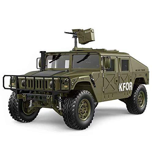 KRCT 1.10 Hohe Simulation RC Hummer Modell mit LED-Scheinwerfer Professionelle 4x4 2.4G Fernbedienung Militär-LKW High Speed Off Road RC Auto-Geschenk for die Armee Fan (Color : Grün)