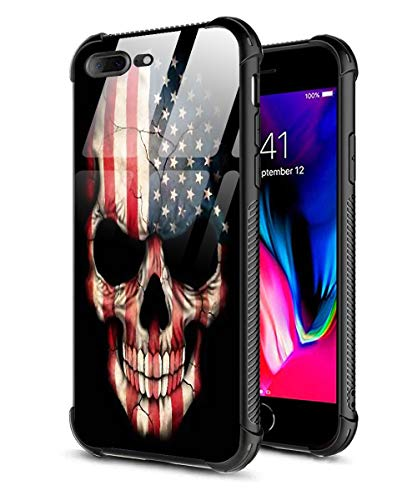 iPhone 7 Plus Case, iPhone 8 Plus Case, 9H Tempered Glass Back Cover Pattern Design + Soft Silicone TPU Shock Absorption Bumper Protective Case Compatible for iPhone 7/8 Plus American Flag Skull