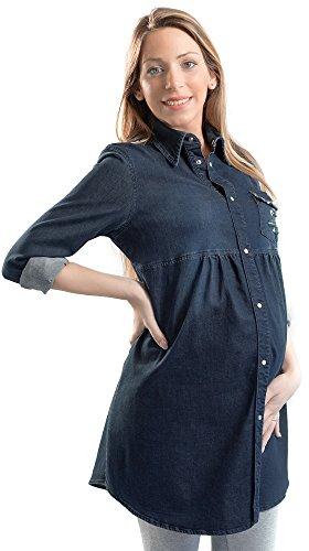 camicia donna jeans lunga MAMAJEANS Camicia Jeans Donna Premaman