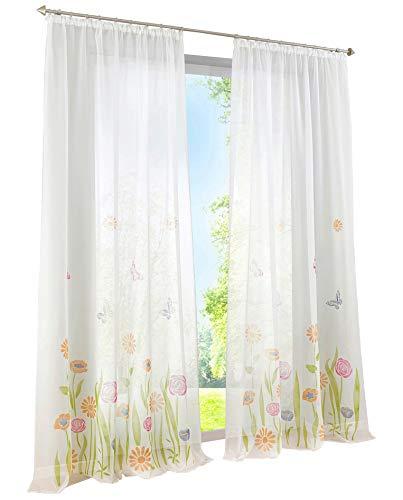 BAILEY JO 1er-Pack Gardine Kräuselband Floral Vorhänge Mit Blumen Schmetterling Transparent Voile Vorhang (grün, BxH 150x145cm)