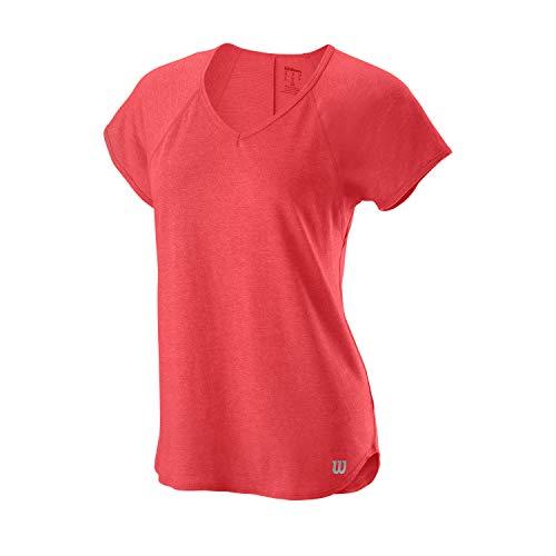 Wilson Mujer, W TRAINING V-NECK TEE, Camiseta de tenis cuello en V,...