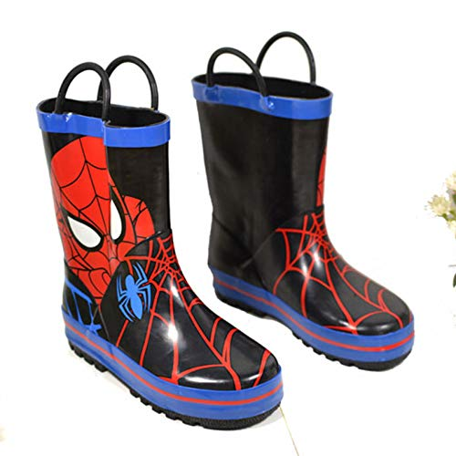 LINLIN Spiderman Bottes de Pluie Garçon Fille Wellington Dessins animes Casual Wellies Shoes Noël Halloween Film Fans Super Cadeau Chaud Bottes de Neige,Blue- 28 Inner Length 18.5cm