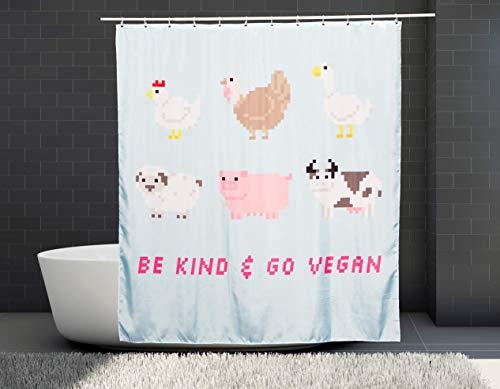 Be Kind - Go Vegan   Duschvorhang   180x200 cm   Wasserdicht   Anti-Schimmel   Einzigartiges Design   Pandafari