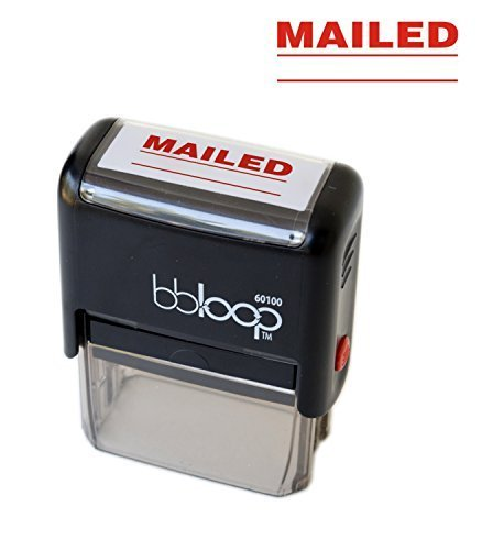 "BBloop Stamp""MAILED"" Self-Inking, Rectangular. RED Ink"