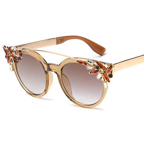iceBoo Occhiali da Sole con Strass Cat Eye da Donna montature Trasparenti da Donna Occhiali da Sole Riflettenti gafas de sol