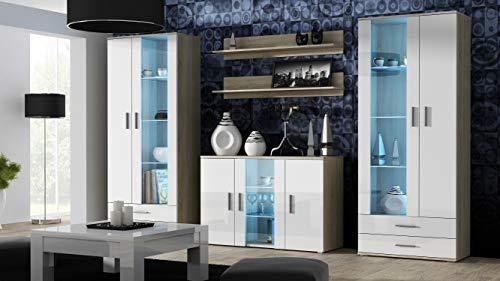 Wohnwand SOHO 10 mit Blauer LED Beleuchtung, Anbauwand, Wohnzimmerschrank, Schrankwand, Vitrine, Lowboard, Hängeregal (Sonoma/Weiß Hochglanz)
