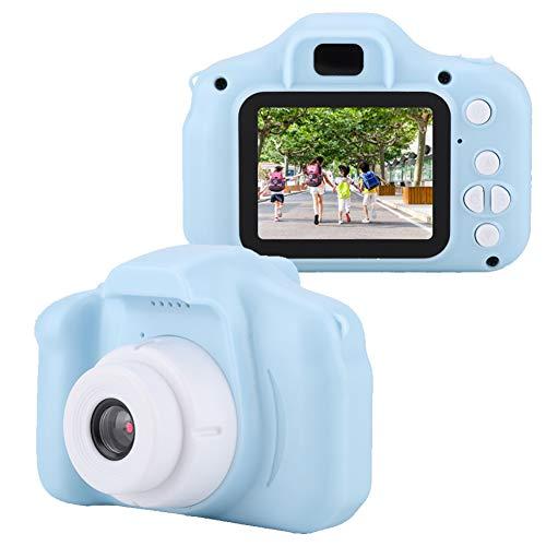 Mini portatile HD 1080P Fotocamera digitale per bambini Foto video Macchina fotografica giocattolo da viaggio all aperto Buoni regali per bambini Kds con schermo a colori IPS da 2,0 pollici(Blu)