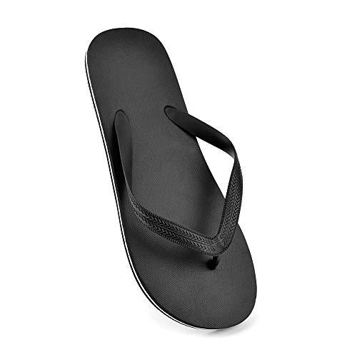 Herren-Flip-Flops, einfarbig, Schwarz - schwarz / weiß - Größe: 42/44 EU