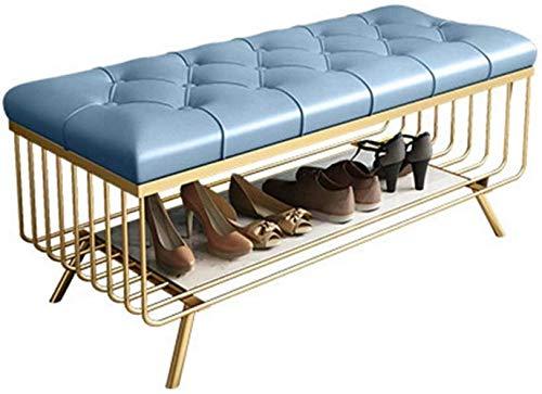LXTIN Zapatero de metal dorado con 1 cojín de asiento para zapatos, color azul claro, zapatero para puerta (tamaño: 45 x 100 x 35 cm), marrón claro, 45 x 100 x 35 cm