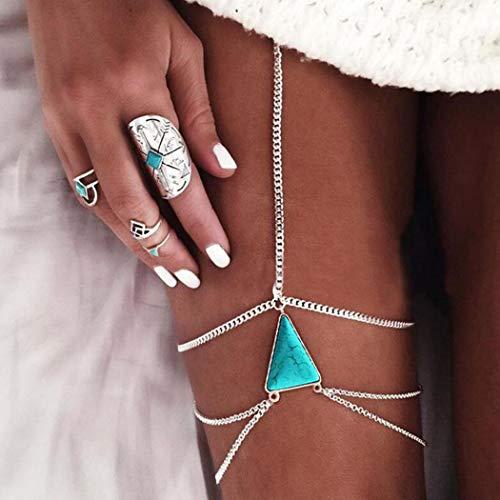 Edary Turquoise Layered Body Chain Boho Beach Bikini Thigh Chain Elastic Leg Chains Charm Body Jewelry Accessories for Women