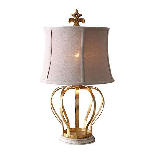 Xwyun Lámpara de mesa vintage de hierro forjado con diseño de corona de color dorado, lámpara de mesa, lámpara LED E27 (50 x 30 cm)