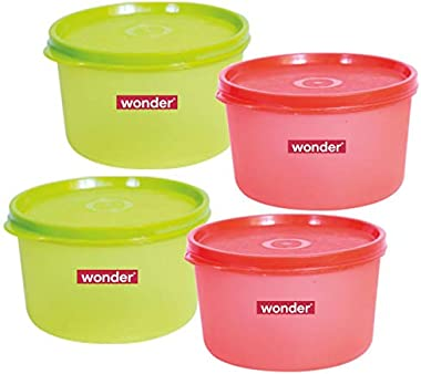 Wonder Plastic Prime Super Fresh 1000 Container Set, 4 Pcs Container 1000 ml, 2 Red 2 Green Color, Made In India, KBS02160