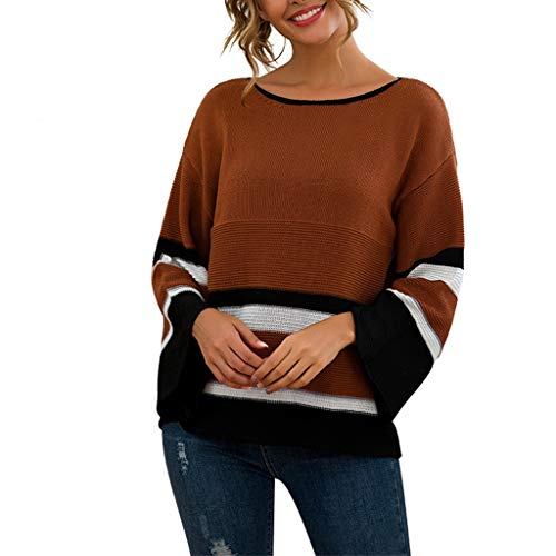 Cheapest Price! Hopwin Women's Off-Shoulder Loose Knitted Sweater | Ladies Crew Neck Stripe Sweaters...
