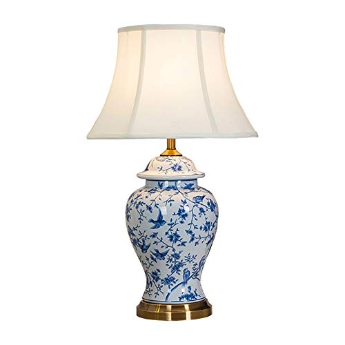 Viqie Keramik Retro Porzellan chinesische Tischlampe Schlafzimmer Nachttischlampe Wohnzimmer Study Kupfer Schreibtischlampe (Color : B)