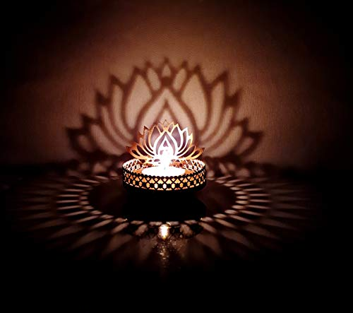 Traditional Tea Light Candle Holder, Metal Candle Light Set Designer Votive Candle Holder Stand/Table Decorative Candle Holders, Lotus Shadow Tea Light for Home Living Room & Office