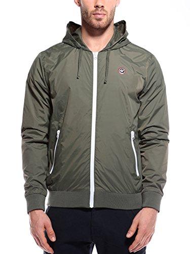 WOLDO Athletic Herren leichte Übergangsjacke Kapuzenjacke Sportjacke Trainingsjacke Jacke slim fit (M, Hanley / olivgrün)