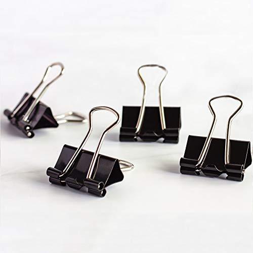 Coideal Extra kleine Mini-Binderclips 15mm Mini-Metall-Bulldog-Büroklammerklammer (60er Pack, Schwarz)