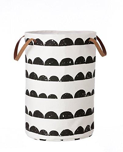 Ferm Living Half Moon Laundry Basket wasmand met lederen hengsels 100% katoen