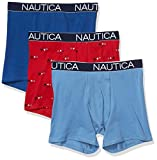 Nautica Men's 3-Pack Classic Underwear Cotton Stretch Boxer Brief, Monaco Blue/Riviera Blue/Sails Red, Large