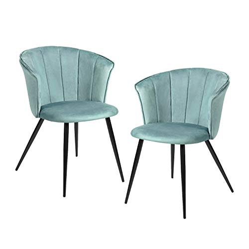 FurnitureR Juego de 2 sillas de Comedor de Terciopelo Sillas de Ocio Modernas de Mediados de Siglo Sillas de reposabrazos tapizadas con...