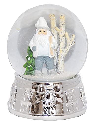 Minium Collection 20074x Bola de nieve histórica de Papá Noel delante del árbol de Navidad sobre base de plata con lazo de regalo con caja de música – Burbuja de aire
