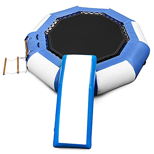 Happybuy Inflatable Water Trampoline 10ft , Round Inflatable Water Bouncer with Yellow Escalator and 4-Step Ladder, Water Trampoline in Blue and White for Water Sports.