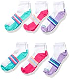 Fruit of the Loom girls Active Lightweight Ankle 6 Pair Casual Sock, White Assorted, Shoe Size 4-11 US
