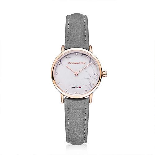VICTORIA HYDE Klein Uhr Damen Marmor Zifferblatt Analoges Quarzwerk Leder Armband