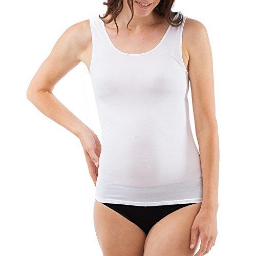 Schöller Damen Shirt ohne Arm Micro-Modal 3er Pack Größe 40, Farbe weiß