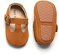 THEE BRON Infant Toddler Baby Soft Sole Leather Shoes for Girls Boys Walking Sneakers (9-12 Months-12.5cm, Brown)