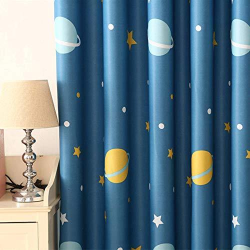 N-B Cortinas de Planetas Azules de Dibujos Animados para Sala de Estar, Tela de Tela Opaca para niños, Cortina de Dormitorio para niños WP355 30