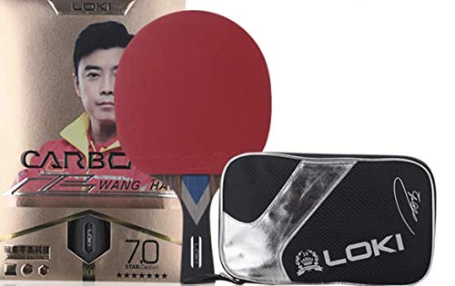 Loki 7 Star Professioneller Tischtennisschläger Carbon Tube Tech PingPong Schläger mit Tasche, Wettkampf Ping Pong Paddel für schnelle Angriffe und Arc (langer Griff/FL)