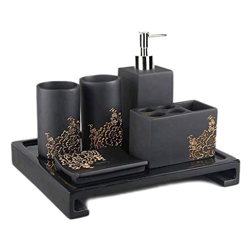 xiaokeai Soap Bottles 6-Piece Bathroom Accessory Resin Set Lotion Dispenser Tumbler Toothbrush Holder Soap Dish and Tray,Elegant Golden Pattern,Black Lotion dispensers (Color : B)