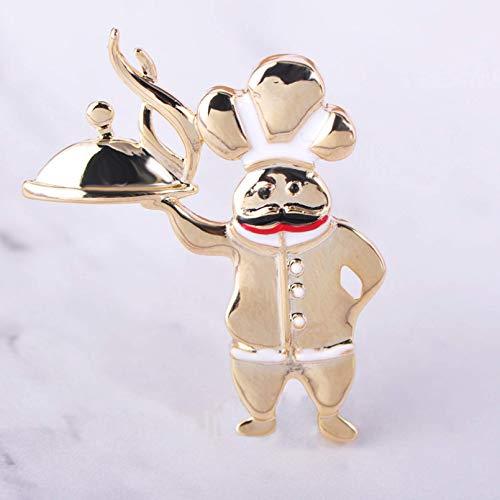 YXFYXF Broche Cuchillo de Cocina Broche Hombre Golden Blade Chef Camarero Broche Badge Ropa Mochila Regalo (Color : Chef)