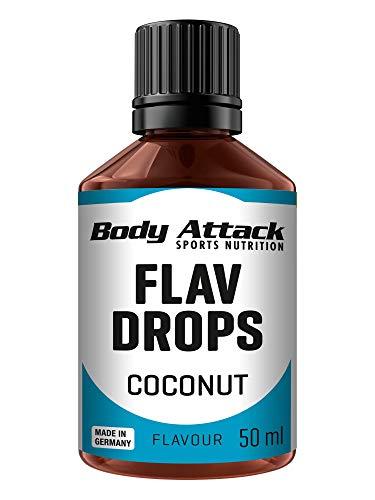 Body Attack Flav Drops®, 50 ml, Coconut, Aromatropfen für Lebensmittel, zuckerfreie Flavour Drops ohne Kalorien, vegan & Qualität Made in Germany