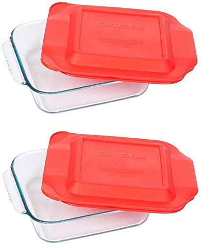 Pyrex Basics 8 Square with red cover (2 PACK)